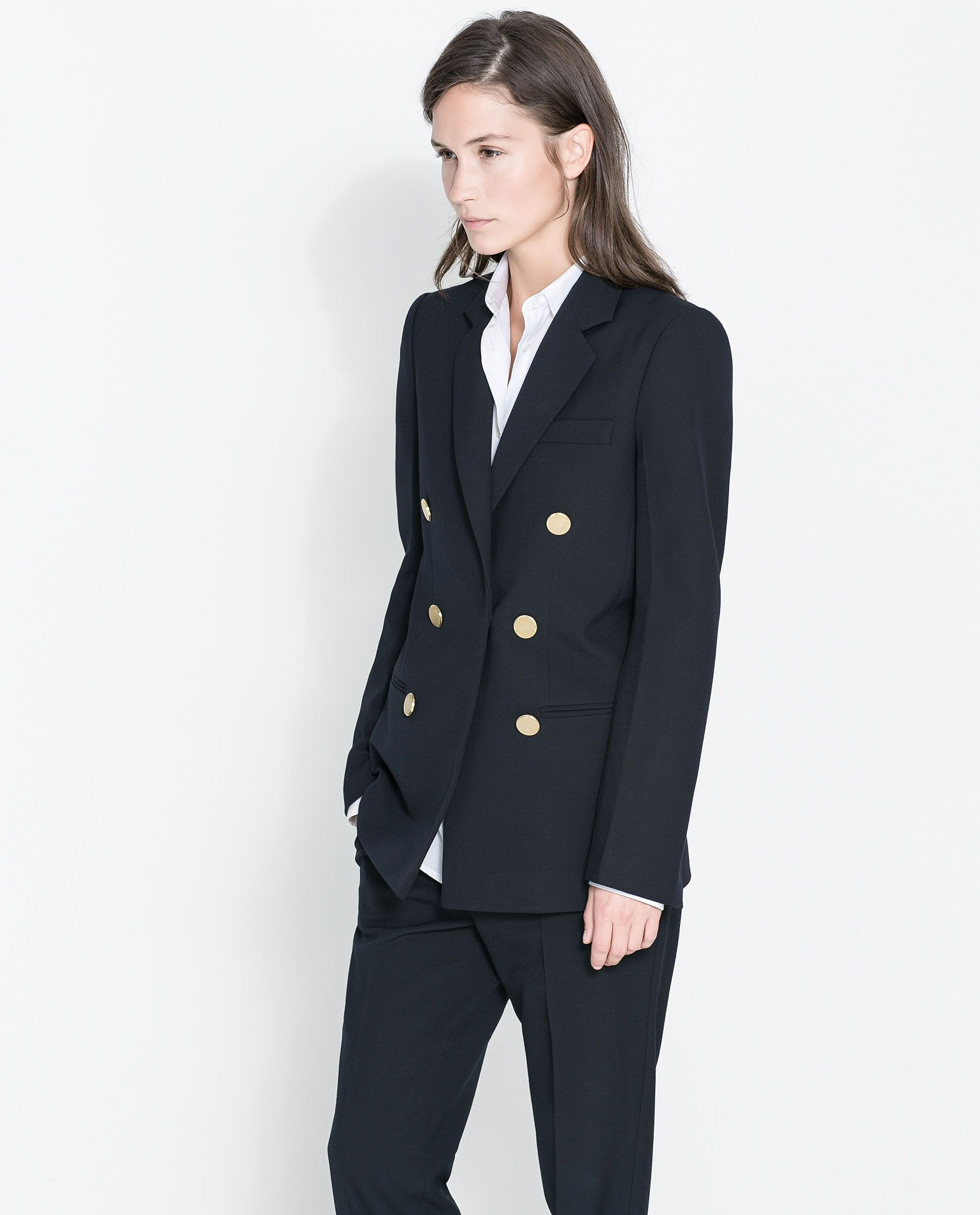 Zara Woman Studio Jacket With Golden Button Button Jacket Outfit Zara Jackets