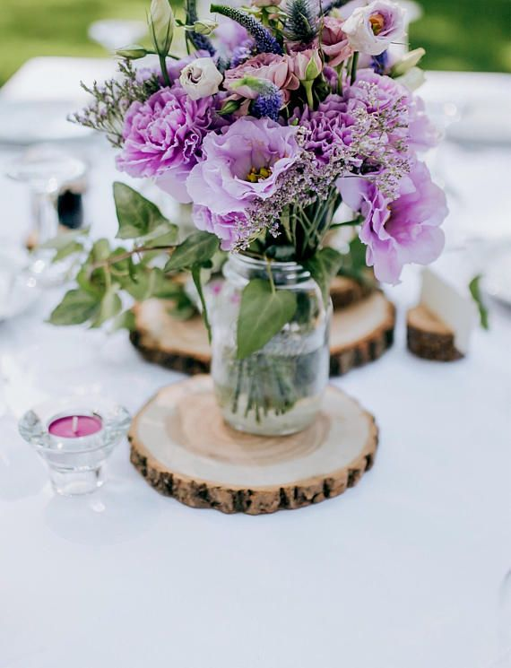 Set Of 10 10 Inch Wood Slices Wedding Table Decor Wood Centerpieces Wood Chargers Wood Slab Centerpieces Rustic Wedding Decor In 2020 Wedding Decorations Centerpieces Rustic Wedding Centerpieces Purple Wedding Centerpieces