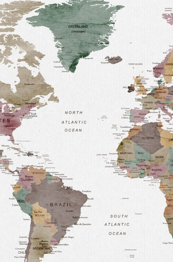 World map wall art, large World map print, world map poster by ...