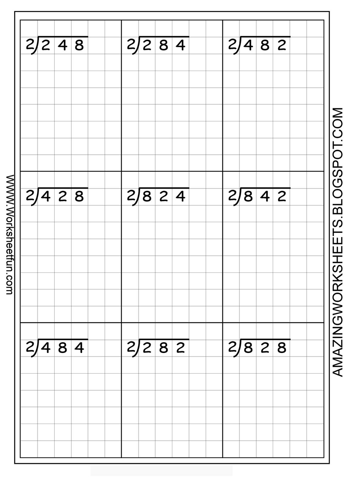 long division - printable worksheets -- on graph paper to ...