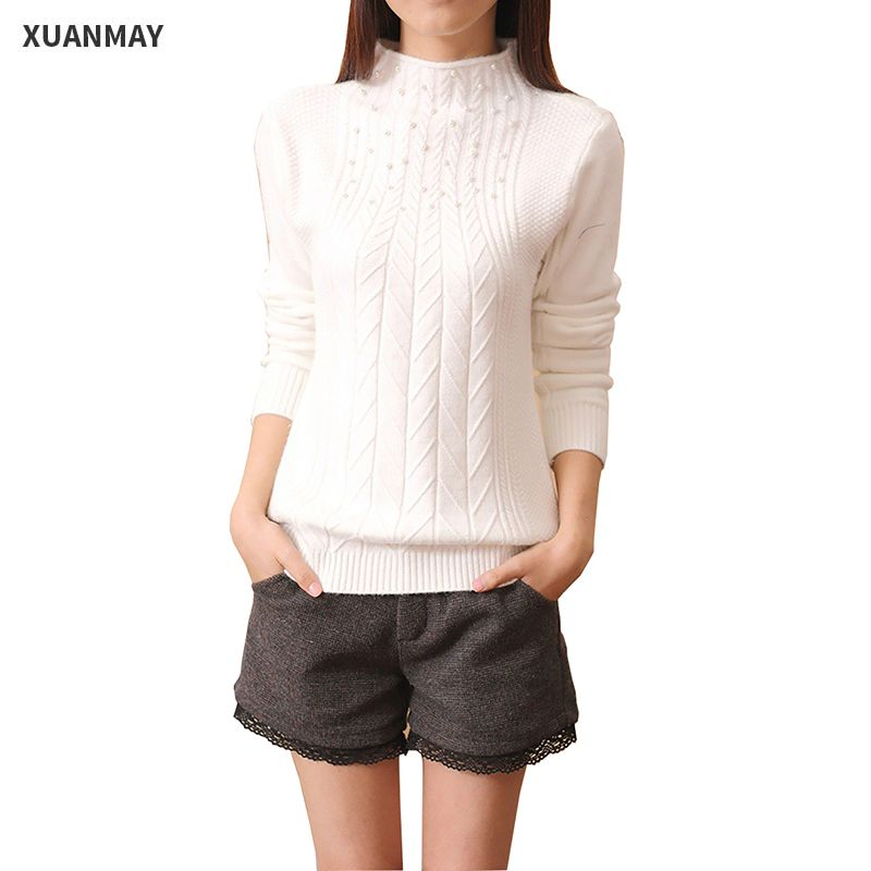 2c556b0a3e975a Women s Autumn and winter High collar sweater 2017 New leisure Slim wool Knit  sweater Coat Primer