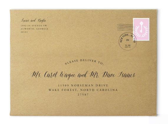 Printable Envelope Addressing Address Template Custom Envelopes Calligraphy Digital