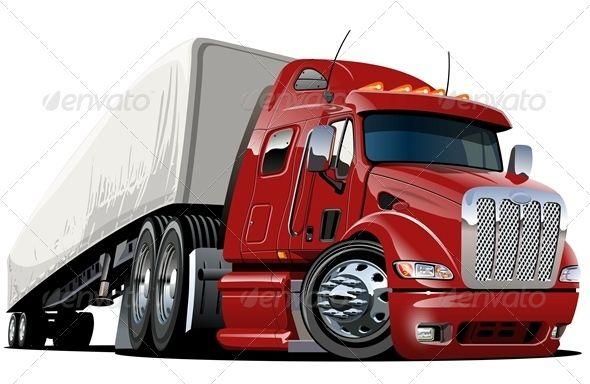 Cartoon Cargo Semi Truck With Images Semi Trucks Trucks Car