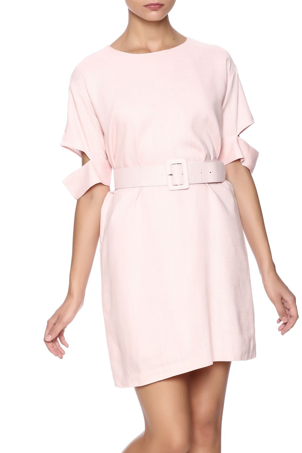 Short sleeve dress with cut out detail on sleeves and belt hidden