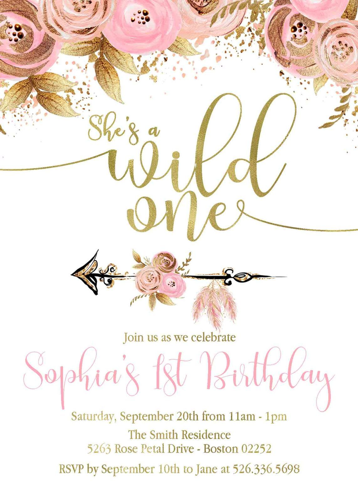 Pink Gold Floral Wild One Birthday Invitation Wild One Invite Boho Wild One