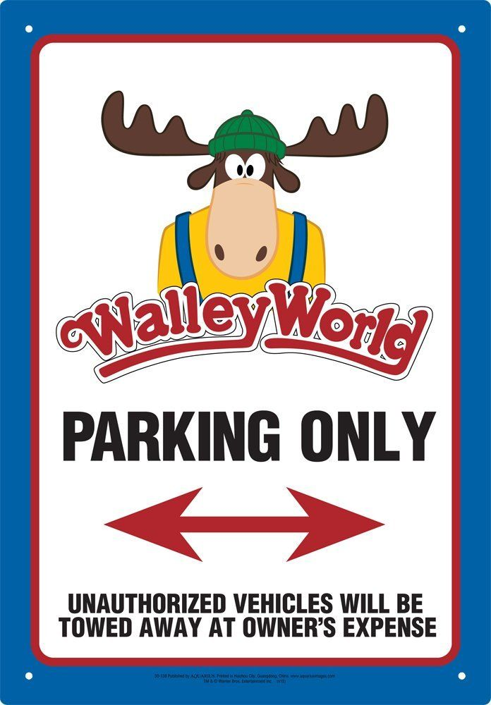 Aquarius Walley World Parking Tin Sign >>> For more information, visit now : Collectible Dolls for Home Decor