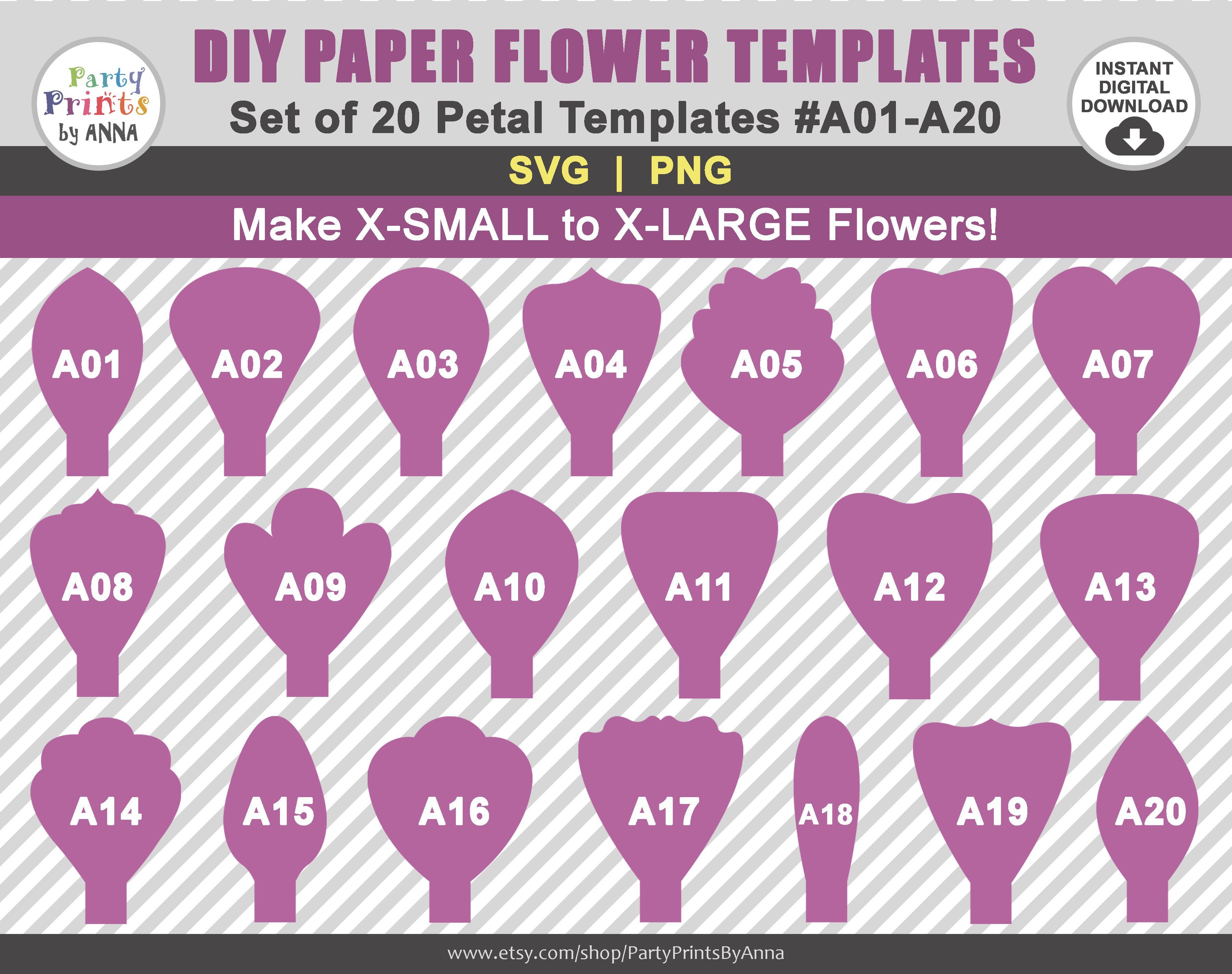 20 Svg Paper Flower Templates Petal Templates A01 A20diy Giant