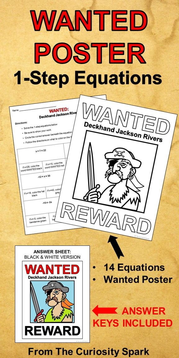 Wanted Poster 1 Step Equations