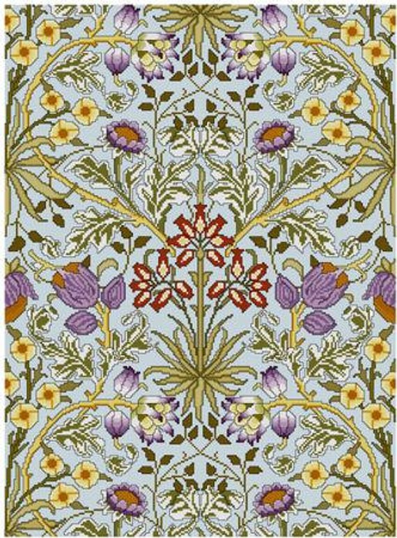 William Morris Seaweed Design Detail Counted Cross Stitch Chart Pattern