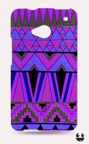 HTC One Phone Case, HTC One Case Abstract Purple Aztec