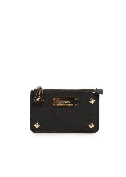 MANGO - Studded saffiano effect coin purse