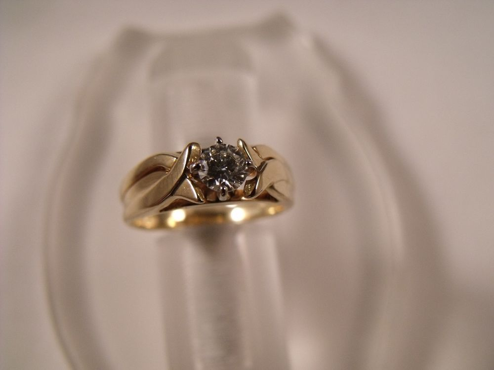 14 Karat Yellow Gold Round Diamond Solitaire Jewelry Engagement Ring 0.20 Tcw #Solitaire