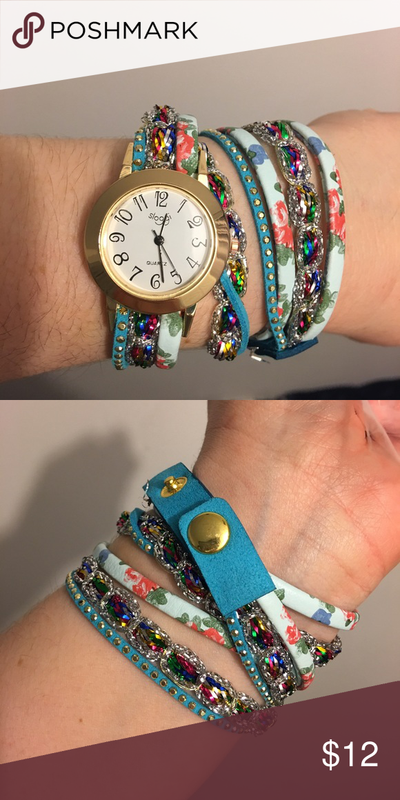 Cute faux fashion watch&bracelet Super Cute and versatile fashion watch; leather bands, other material for decorative parts of bands. Watch has glass face, alloy metal, and quartz run. Accessories Watches