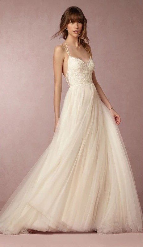 Simple minimal spaghetti strap wedding dress with by for Plain wedding dresses with straps