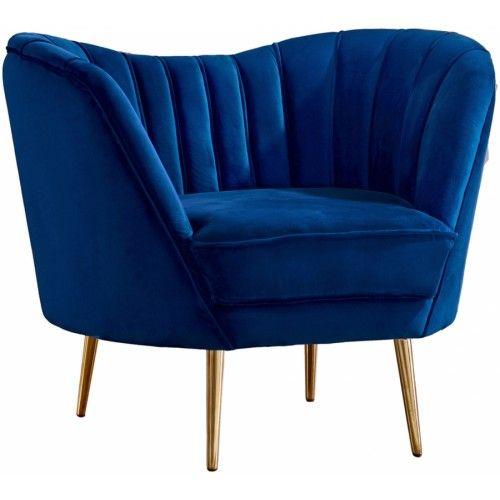 Beau Royal Blue Velvet Chanel Tufted Chair Gold Legs