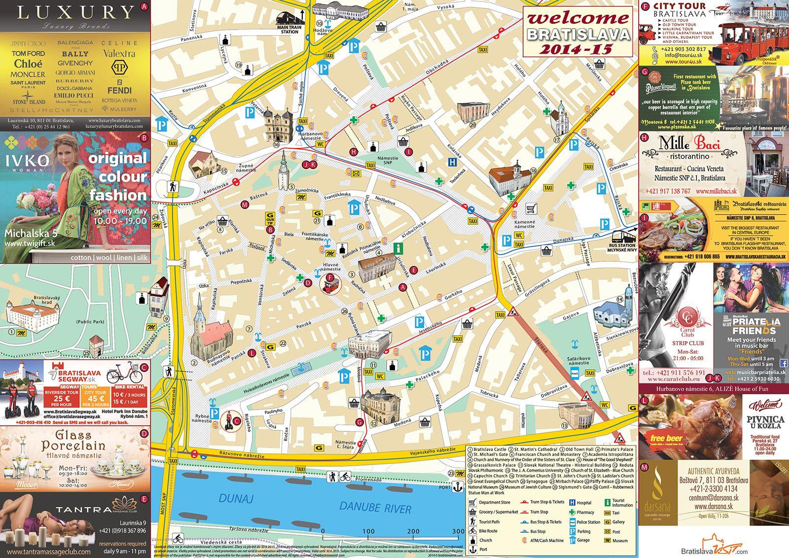 Bratislava Map EURO TOUR Pinterest Bratislava Tourist map and