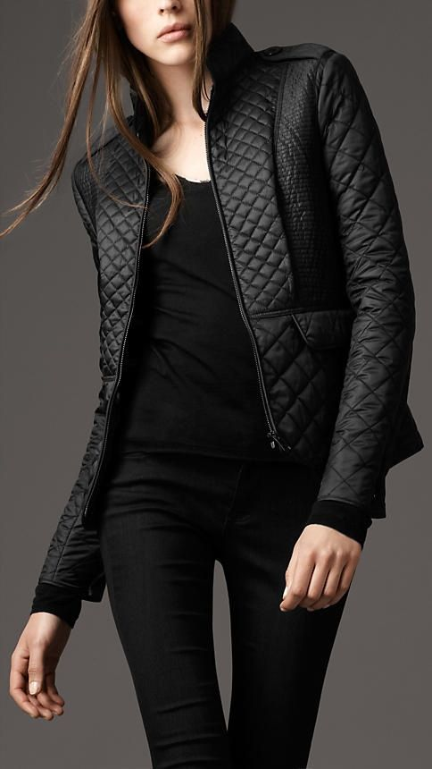black burberry quilted jacket. | | Style | | Pinterest | Quilted ...