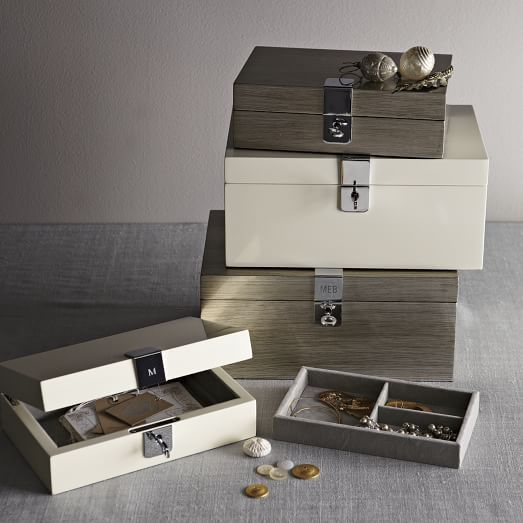 Small white or solve Lacquer Jewelry Box to go with my grand one 49