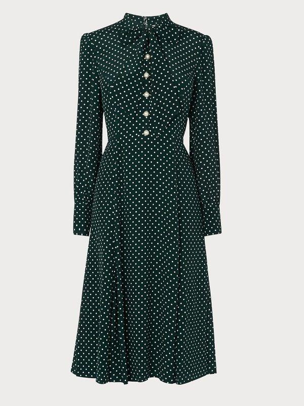 MORTIMER GREEN DOTTED SILK DRESS