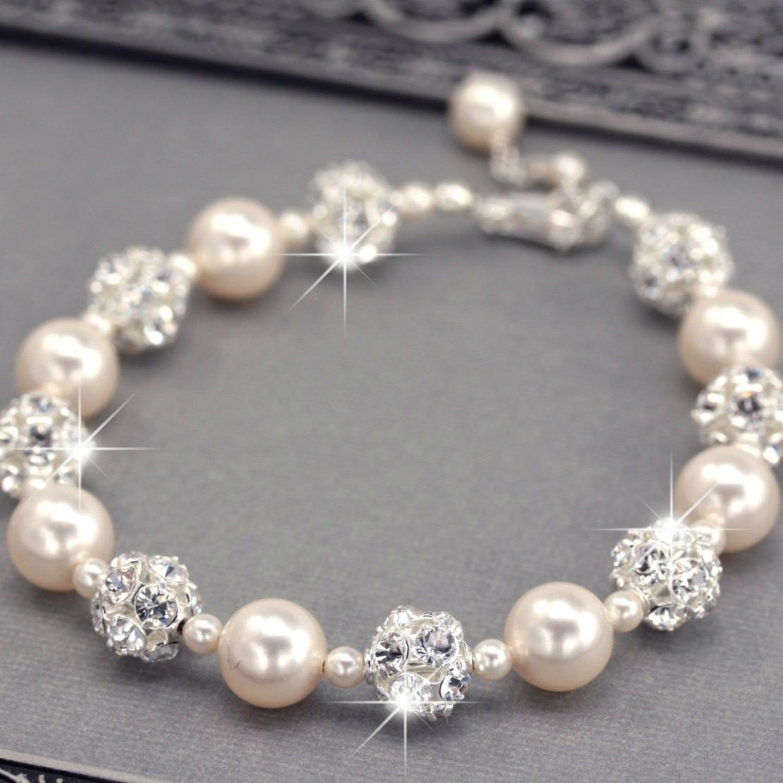 Swarovski Pearl and Rhinestone Bridal Bracelet 92cad896e8
