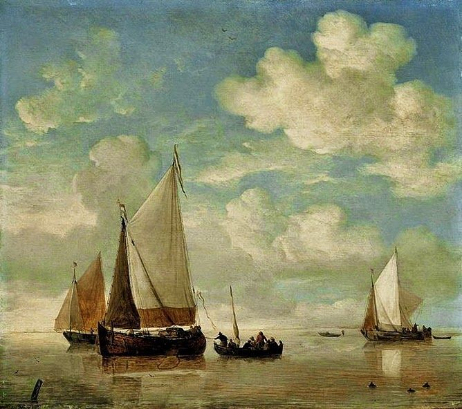 Dutch Master Paintings: Calm, Dutch Smalschips And A Rowing Boat