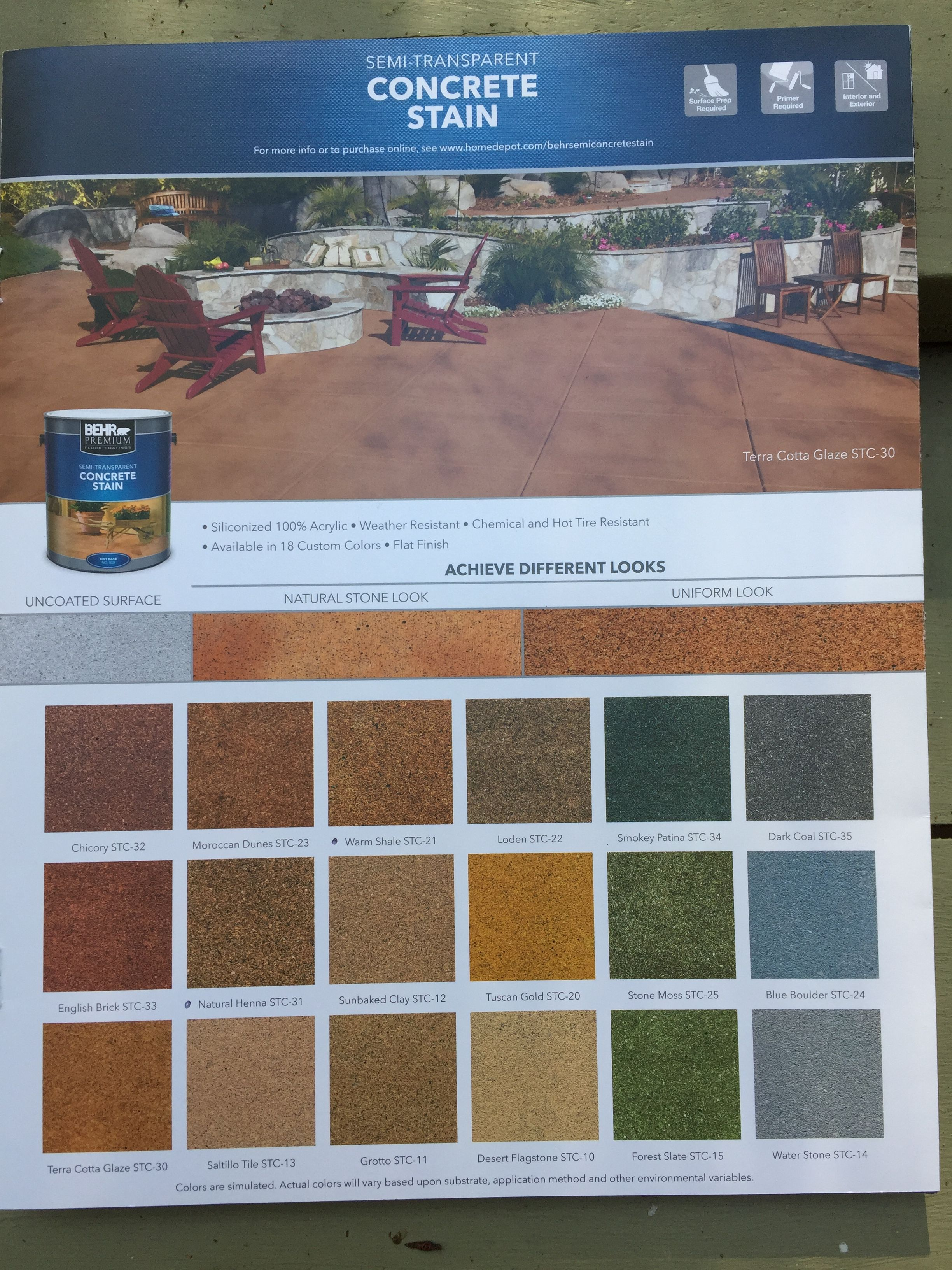Behr Concrete Stain Color Chart Concrete Stain Colors Stained
