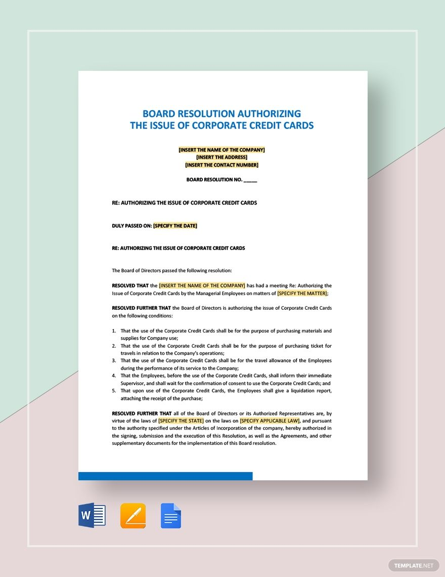 Board Resolution Authorizing The Issue Of Corporate Credit Card Template In 2020 Confirmation Letter Letter Templates Lettering