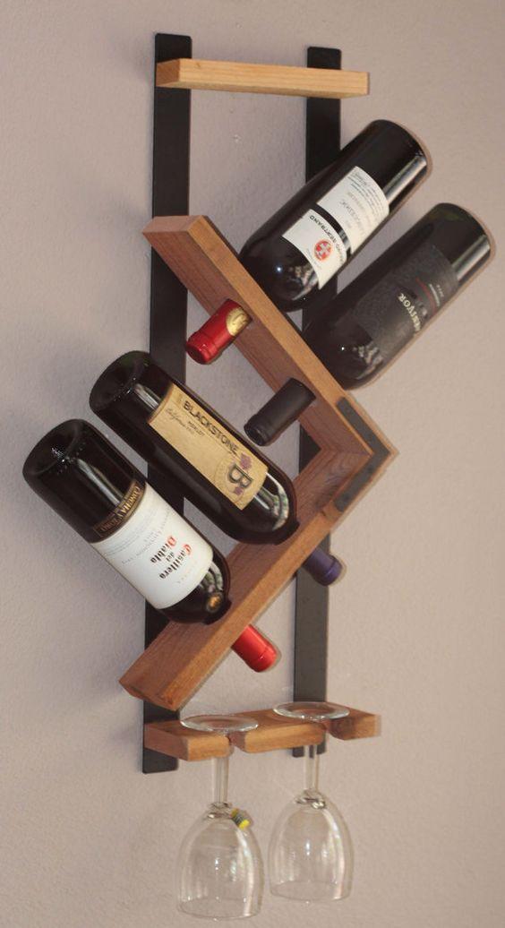 Wall Wine Rack 4 Bottle 2 Glasses Holder Storage Display Hand Hammered Steel And Natural Re Wine Rack Wall Wall Mounted Wine Rack Wood Wall Mounted Wine Rack