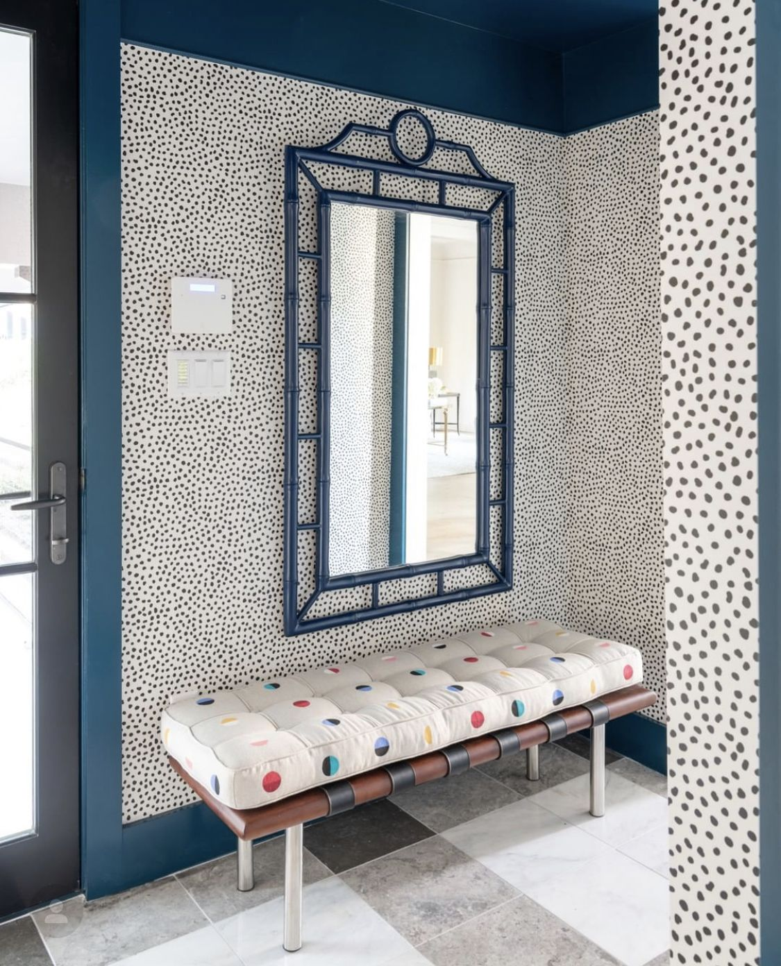 Pin By Lauren Collins Interiors On Entry Spotted Wallpaper Wallpaper Interior Design Funky Wallpaper