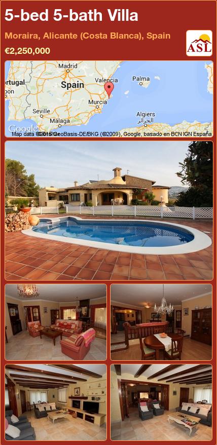 5-bed 5-bath Villa in Moraira, Alicante (Costa Blanca), Spain ►€2,250,000 #PropertyForSaleInSpain