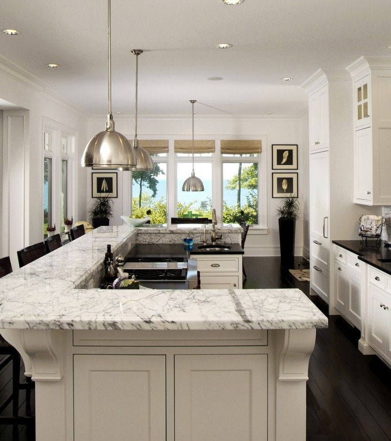 Design Your Own Kitchen Layout U Shaped Kitchen Island Marble Countertop  White Cabinet Pratt Street Metal