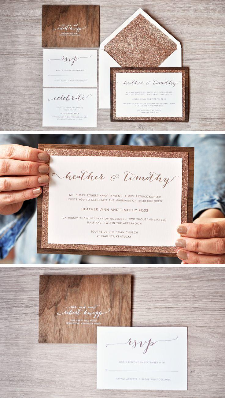 Rustic Wedding Invitation - Heather Wedding Invitation | Rose gold ...