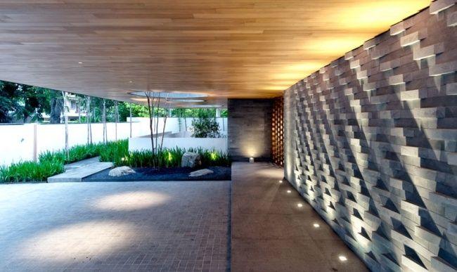 Einfamilienhaus Moderne Architektur Bodenleuchten Eingang