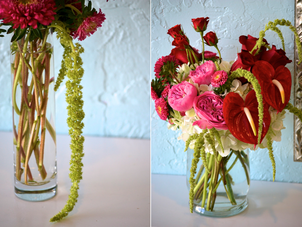 Red Pink Green Wedding Centerpiece Arrangement Anthurium