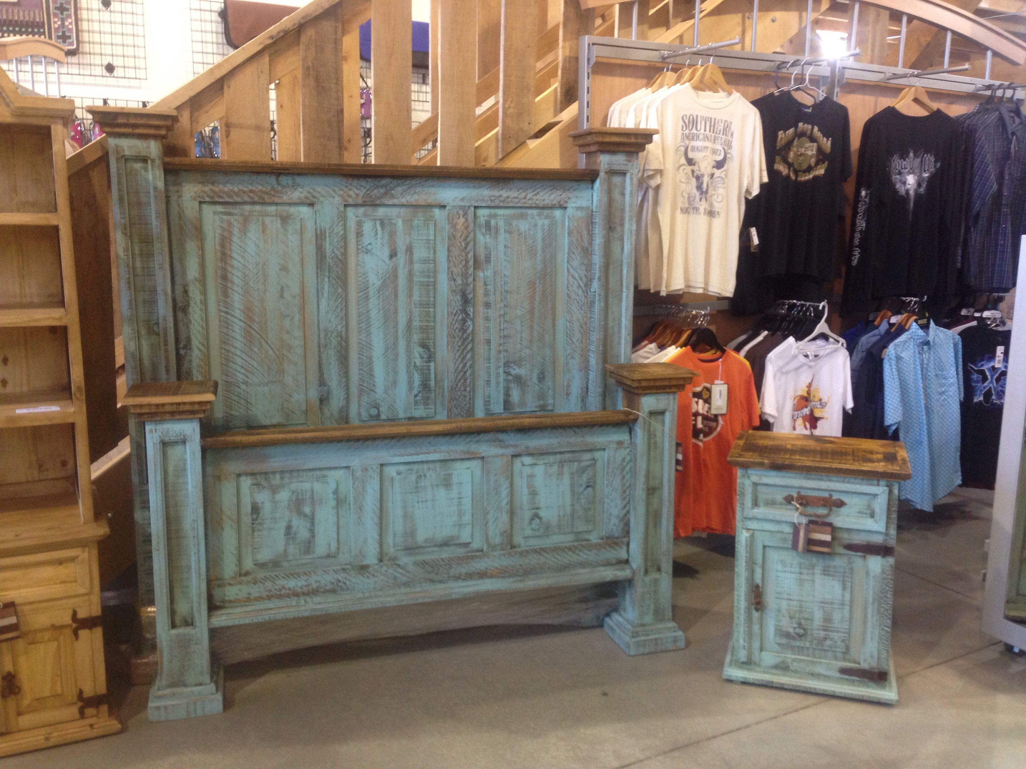 rustic king bedroom set. turquoise wash rustic bedroom furniture!http://www.rusticfurnitureoutlet.ca/ king set e
