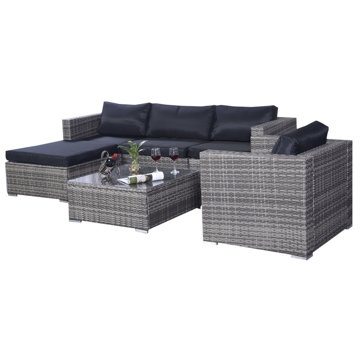 Recliner Sofa Set Amazon Black Chair Tangkula 6 Pcs Outdoor Wicker Furniture