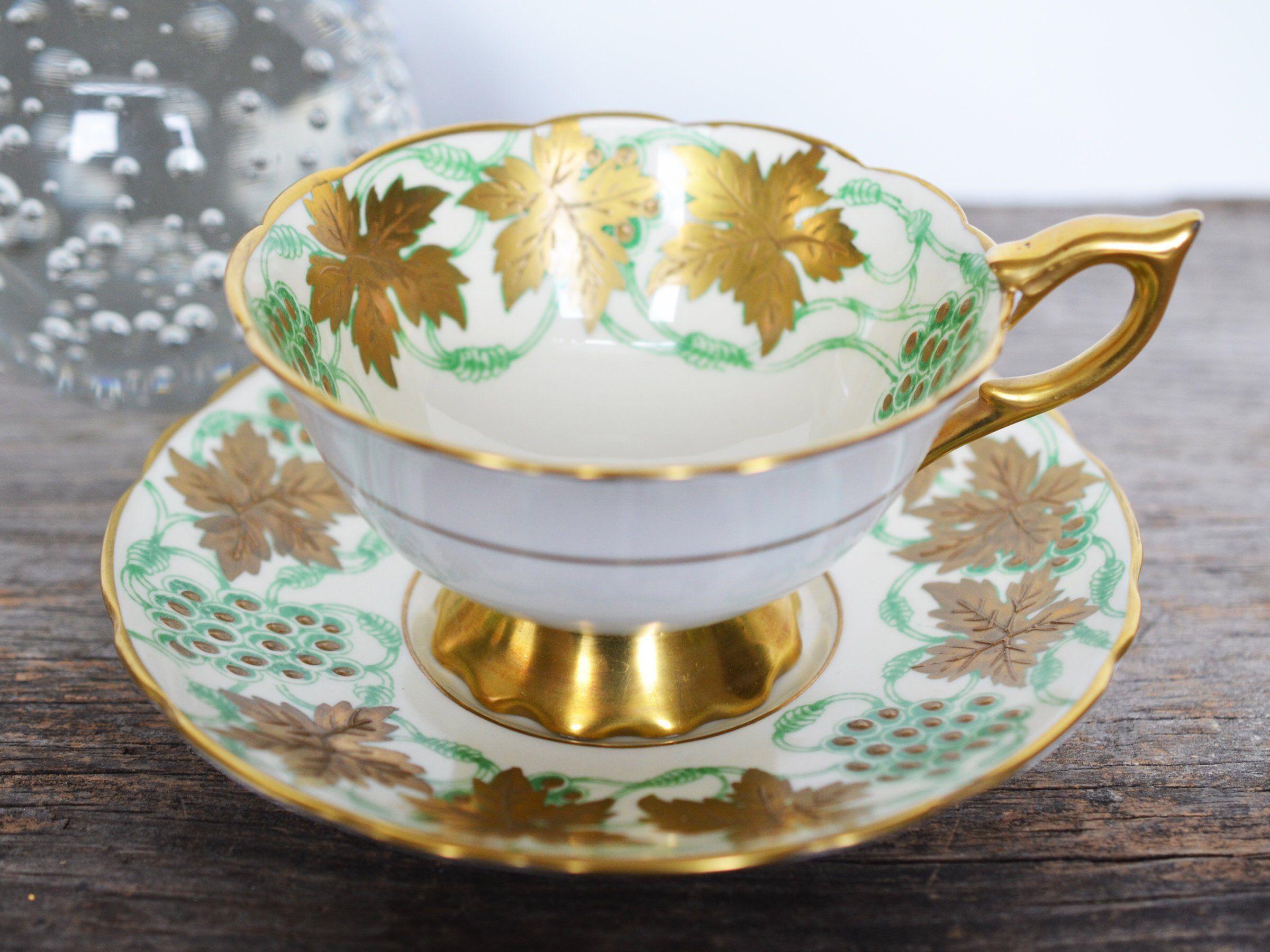Royal Stafford Teacup And Saucer La Vigne Dor 22k Gold Hand