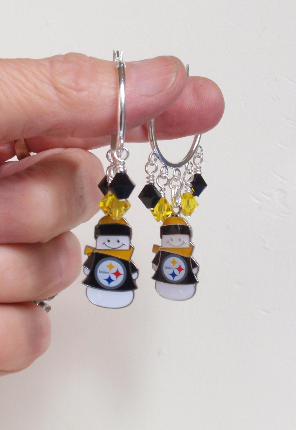 Pittsburgh Steelers Earrings, NFL Steelers Play Pro Football in the Snow Black and Gold Crystal Snowman Charm Hoop Earrings by scbeachbling on Etsy