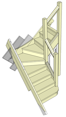 Stairs - Example of Winder Stairs with a simple handrail ...