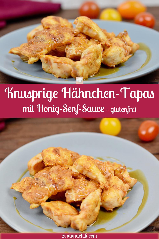 Knusprige Hähnchen-Tapas mit Honig-Senf-Sauce - Zimt & Chili