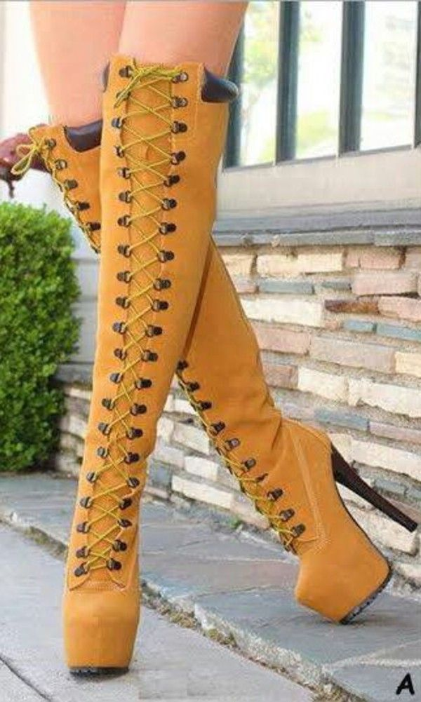 Thigh High Timberland Style Over The Knee Lace Up Boots