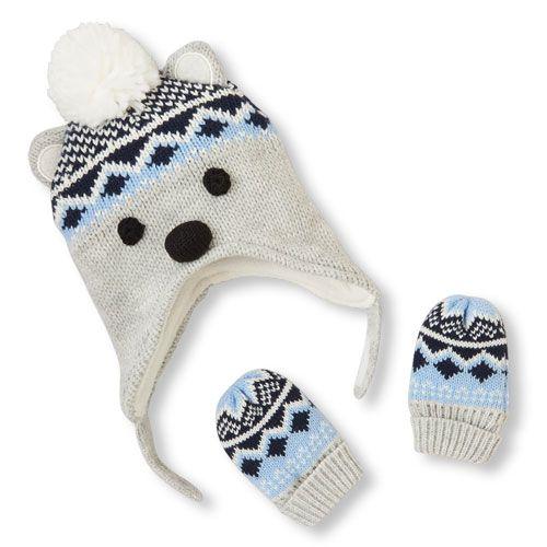 Baby Boys Fair Isle Polar Bear Hat And Mittens Set | Fair isles ...