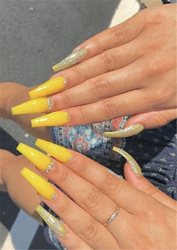 Trendy Yellow Nail Art Designs To Make You Stunning In Summer Acrylic Or Gel Nails French Or Coffin Nails Ma Yellow Nails Yellow Nails Design Yellow Nail Art