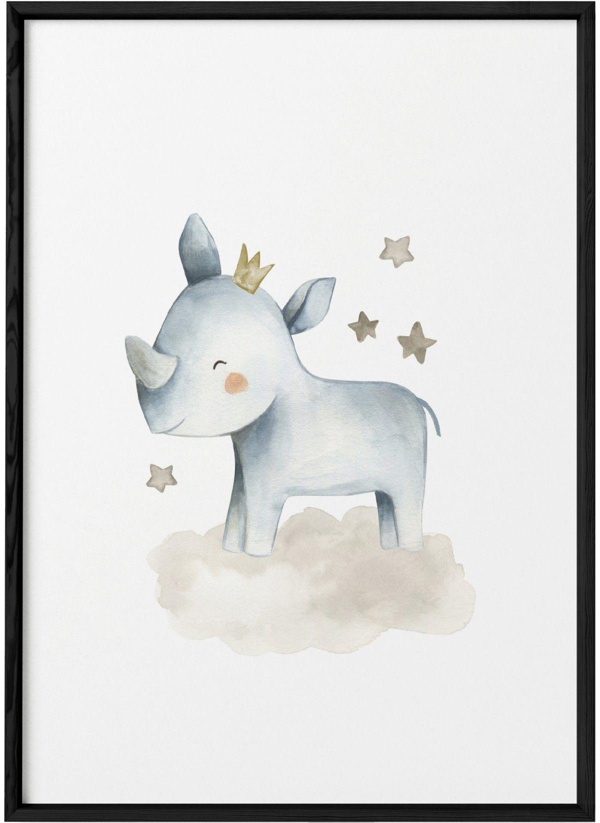 Affiche Bebe Rhino Pour Chambre Enfant L Afficherie Animaux D