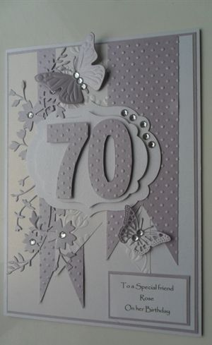 Handmade 70th Birthday Card By Niftynity Lots Of Layers White And Silver Gray Die Cut Number