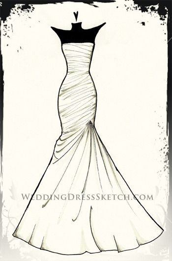 Custom Wedding Dress Gown Sketch Fashion Drawing Bridal Fashion