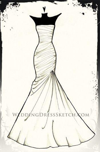 custom wedding dress gown sketch fashion drawing