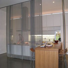 Modern Kitchen With Sheer Curtain Used As A Divider Wall Hanging