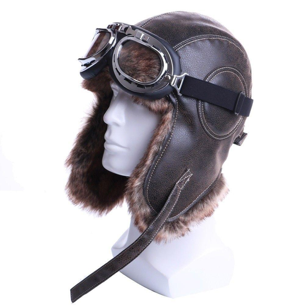 Ushanka Goggles Winter Bomber Hats Men Women s Trapper Aviator Earflap  Russian 931e1295a4f