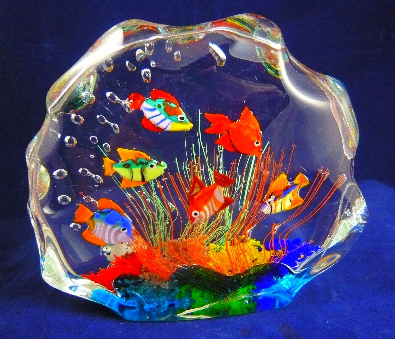 Murano glass 6 fish aquarium paperweight murano glass for Murano glass fish